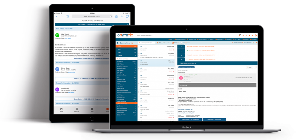 Commnia Contract Management displaying on ios devices
