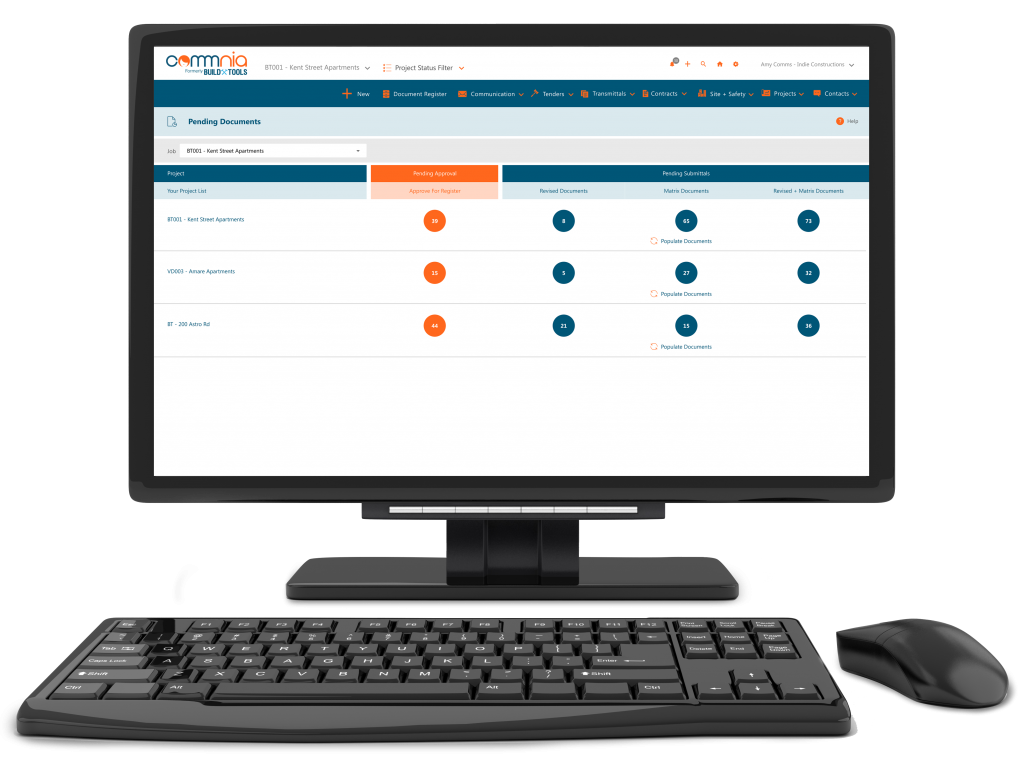Auto Revised and Pending Documents Dashboard on Commnia construction software