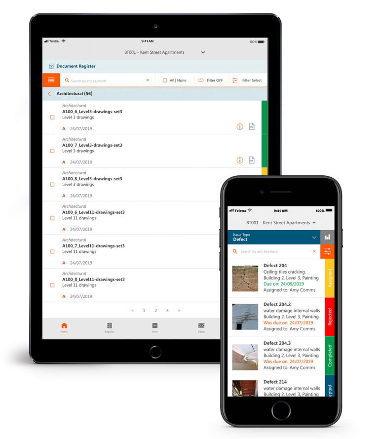 Commnia construction software used on mobile devices